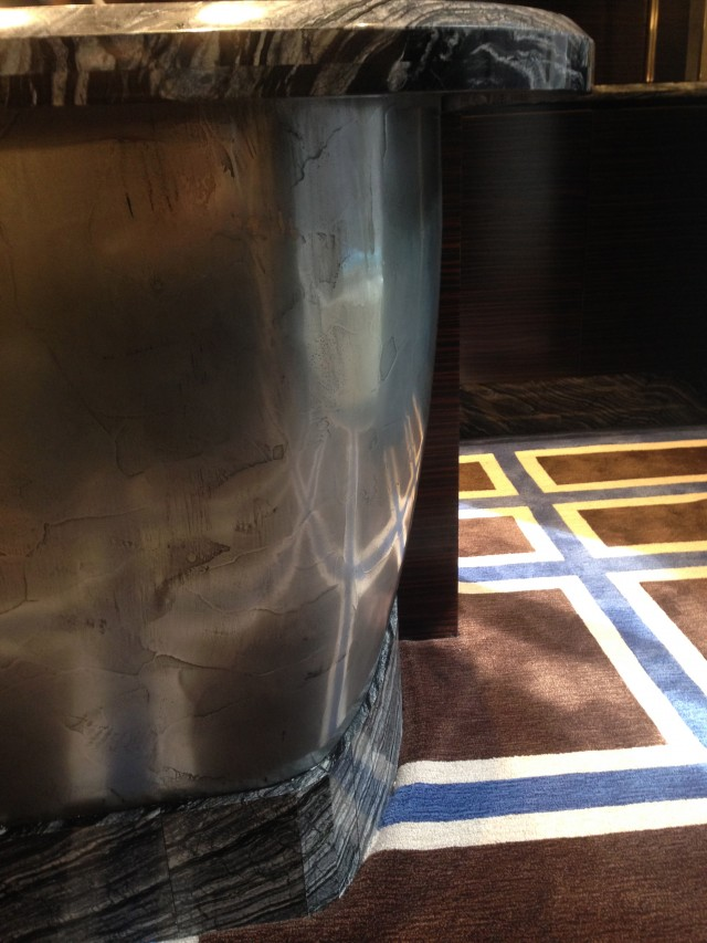 Metal Finish at the Bar. Peninsula Hotel NYC